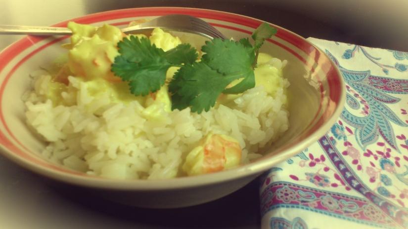 Riz, crevettes, coco, curry