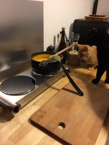 Préparation d'une soupe avec les 2 commis les plus mignons du monde environ